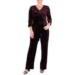 Womens Velvet Ruched Sleeve Jumpsuit