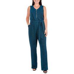 Womens Glitter Zipper Placket Jumpsuit