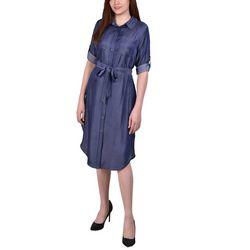 NY Collection Womens Chambray Shirt Dress
