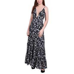 NY Collection Womens Deep V Neck Maxi Dress