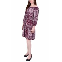 NY Collection Womens Off The Shoulder Printed Dress