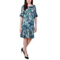 NY Collection Womens Printed Flounced Hem Dress