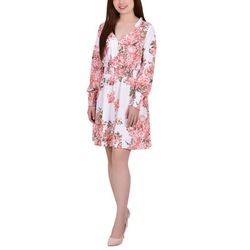 NY Collection Womens Floral Button Down Dress