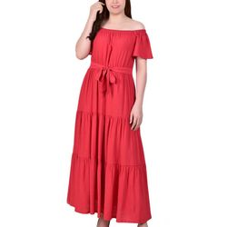 NY Collection Womens Off The Shoulder Tiered Maxi Dress
