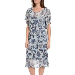 NY Collection Womens Flutter Sleeve Mesh Overlay Dress