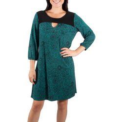 NY Collection Womens Bubble Sleeve Shift Dress