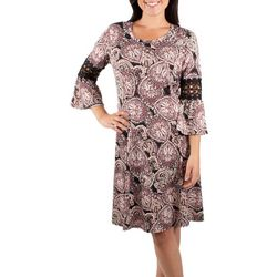 NY Collection Womens Bell Sleeve Crochet Trim Dress