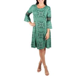 NY Collection Womens Paisley Bell Sleeve Crochet Trim Dress
