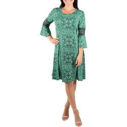 Womens Paisley Bell Sleeve Crochet Trim Dress