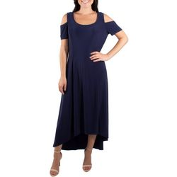 NY Collection Womens Cold Shoulder High-Low Maxi Dress