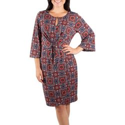 NY Collection Womens Flare Sleeve Tie Front Dress