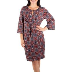 Womens Flare Sleeve Tie Front Dress