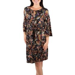 NY Collection Womens Paisley Flare Sleeve Tie Front Dress