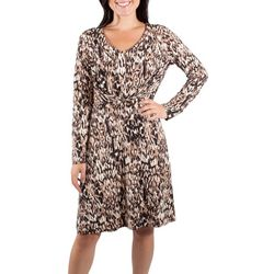 NY Collection Womens Animal Long Sleeve Pleated Front Dress