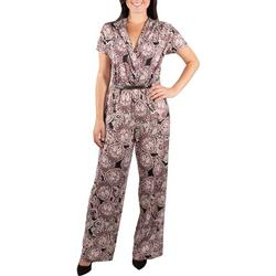Womens Pleat Front Belted Jumpsuit