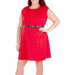 Plus Extended Shoulder Dress with Belt