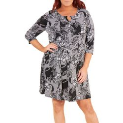 NY Collection Plus 3/4 Sleeve Round Neck Dress