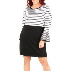 Plus Long Sleeve Stripe Dress