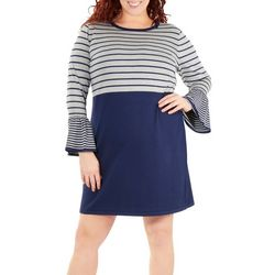 Plus Long Sleeve Stripe Dress