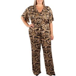 NY Collection Plus Printed Angel Sleeve Twist Front Jumpsuit