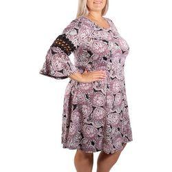 Plus Bell Sleeve Crochet Trim Dress