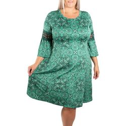 NY Collection Plus Paisley Bell Sleeve Crochet Trim Dress