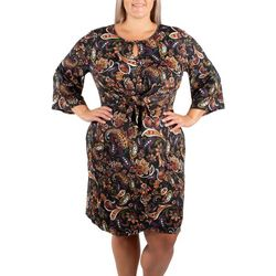 NY Collection Plus Flare Sleeve Tie Front Dress