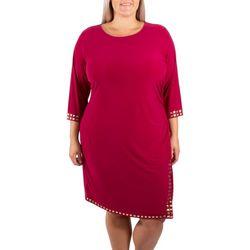 NY Collection Plus Side Slit Embellished Dress