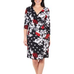NY Collection Womens Floral Fie Front Wrap Dress