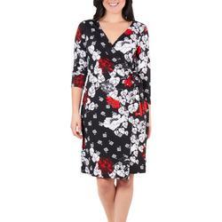 Womens Floral Fie Front Wrap Dress