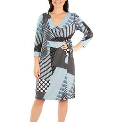 NY Collection Womens Patchwork Tie Front Wrap Dres