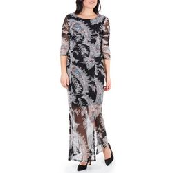 NY Collection Womens Paisley Print Double Slit Maxi Dress