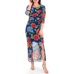 NY Collection Womens Floral Double Slit Maxi Dress