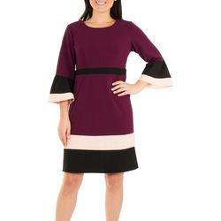 NY Collection Womens Bodycon Color Block Dress
