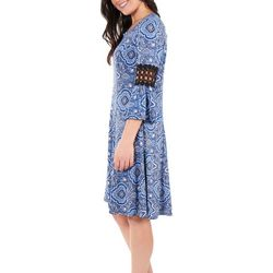 NY Collection Womens Crochet Sleeve Trim Dress