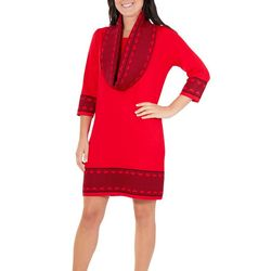 NY Collection Womens Chevron Hem Sweater Dress