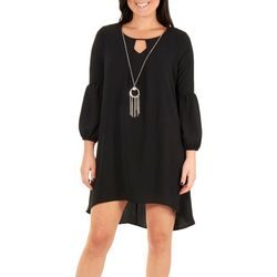 NY Collection Petite Hi-Low Dress with Necklace