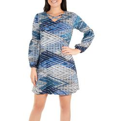 Petite Long Sleeve Lattice Dress
