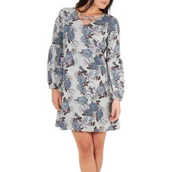 NY Collection Petite Grey Lattice Dress