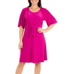 NY Collection Petite Raglan Elbow Sleeve Dress