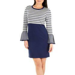 NY Collection Petite Long Sleeve Stripe Dress