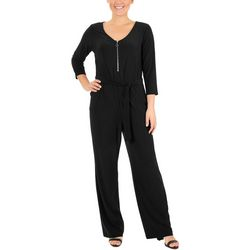NY Collection Petite Zipper Front Jumpsuit