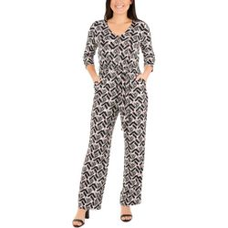 NY Collection Petite Printed Zipper Front Jumpsuit