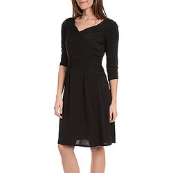 NY Collection Womens Cross Ruching Dress