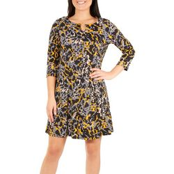 NY Collection Womens Animal Print Round Neck Dress