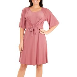 NY Collection Womens Raglan Elbow Sleeve Dress