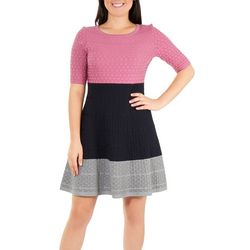 NY Collection Womens Colorblock Dress