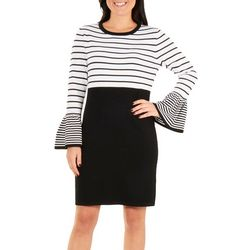 NY Collection Womens Long Sleeve Stripe Dress