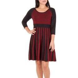 NY Collection Womens Striped Scoop Neck Flare Dres