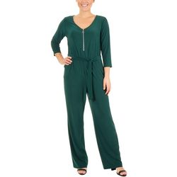 NY Collection Womens Zipper Front Jumpsuit